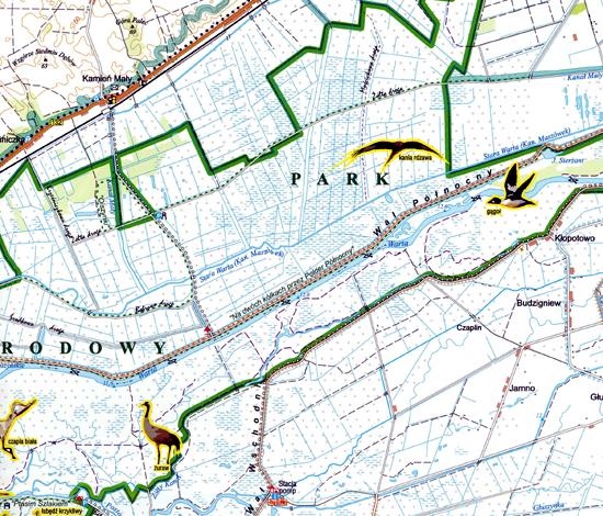fragment mapy Park Narodowy Ujście Warty