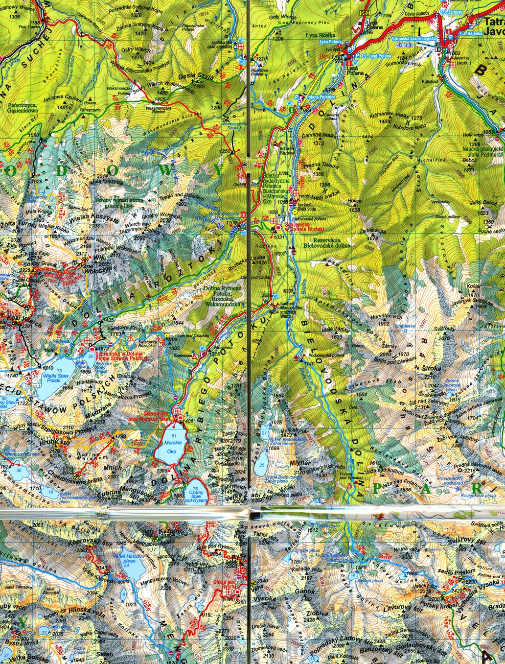 fragment laminowanej mapy Tatry Wysokie i Zachodnie wyd. słowackie