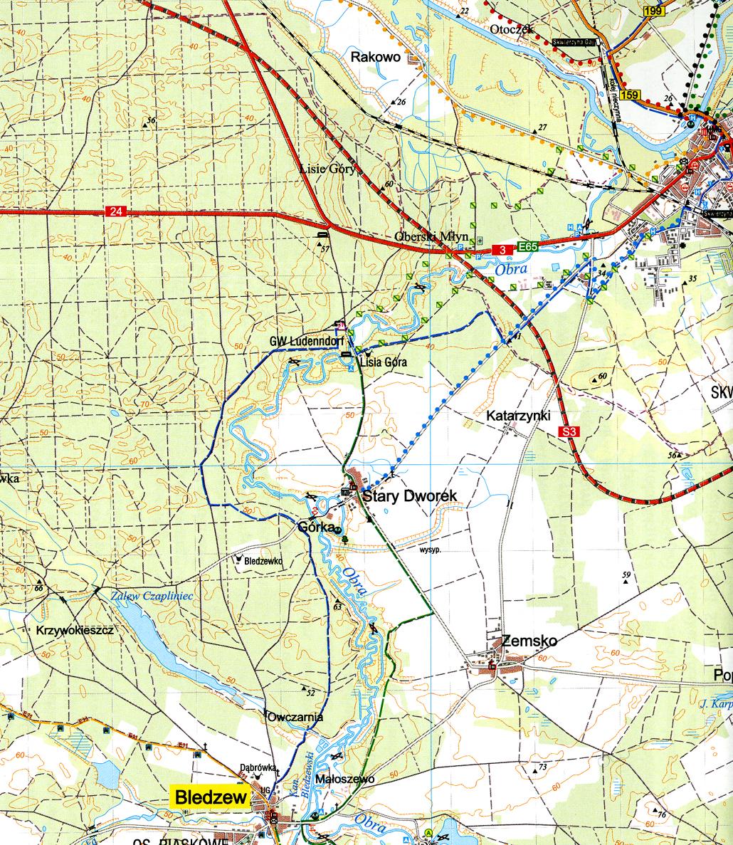 fragment mapy Powiatu międzyrzeckiego